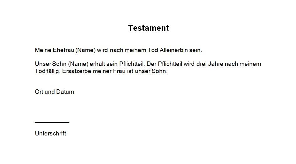 Testament Vorlage - Testament handschriftlich